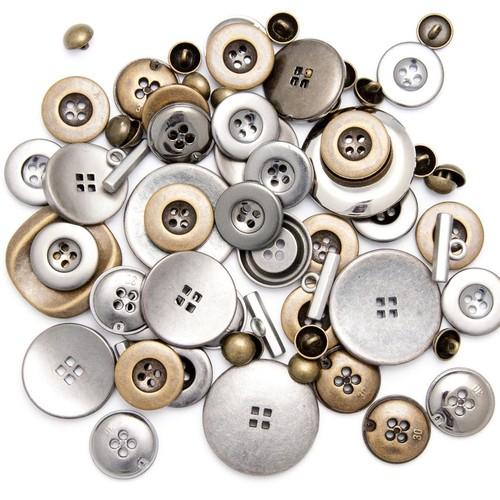 (500METAL) Assorted Metal Buttons 500g