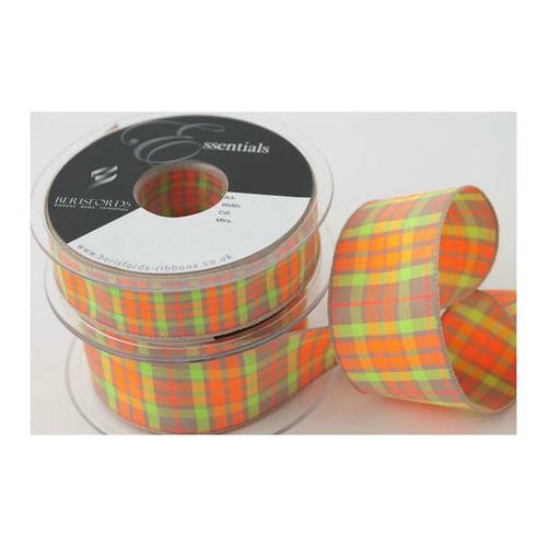 (6012025) Neon Textured Tartan Ribbon