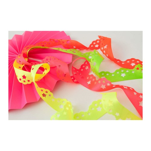 (7000330) Scatter Star Laser Embossed Ribbon (6845 Flo Pink)