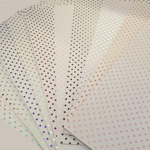 3 x A4 White Foil Polka Dot Gold (A4WGLD)