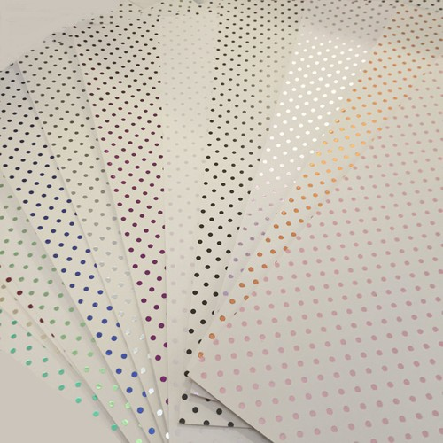3 x A4 White Foil Polka Dot Lilac (A4WLLC)