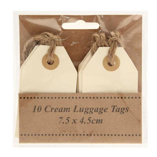 Cream Luggage Tags 7.5cm x 4.5cm x 10 (AP-LA8701)