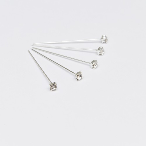 Glass Diamante Diamond Effect Pins 4mm x 4cm x 72pcs (AP-PN1085)