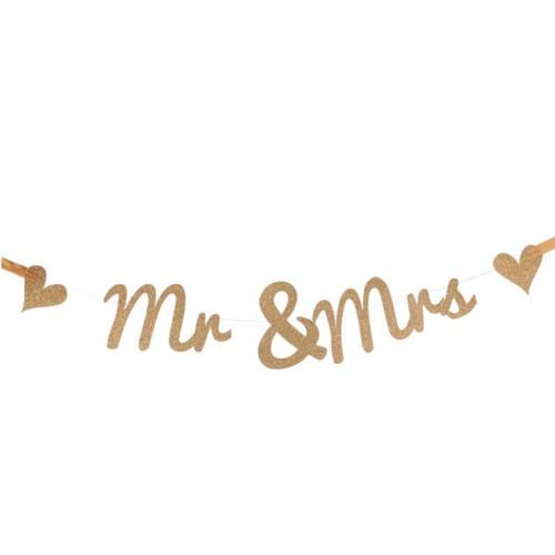 Glitter Mr & Mrs Banner Gold (AP-WED248)