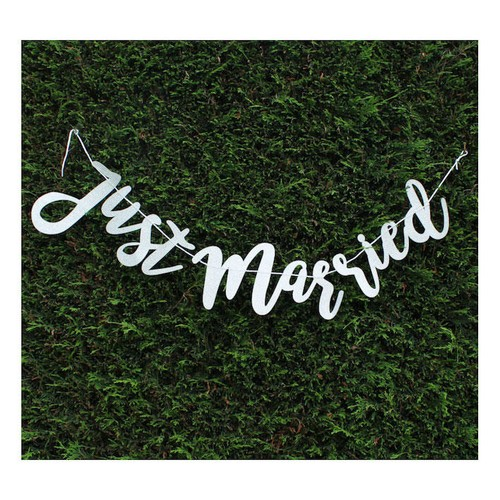 Glitter Just Married Banner Silver (AP-WED252)