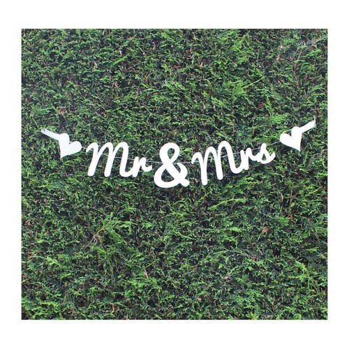 Glitter Mr & Mrs Banner Silver (AP-WED253)