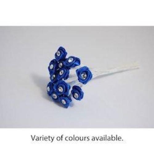 Diamonte Ribbon Rose Bunch 6 Pack(Lilac)