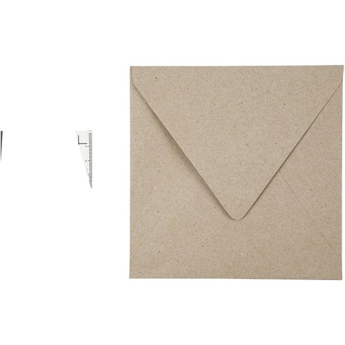 Recycled Envelopes - 15cm x 15cm - 120g - Natural - 25pcs (CC20532)