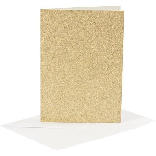 Cards and Envelopes, Size 10.5x15cm, Envelope Size 11.5x16.5cm, Gold, Shimmer, 4sets (CC23023)