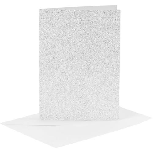 Cards and Envelopes, Size 10.5x15cm, Envelope Size 11.5x16.5cm, Silver, Shimmer, 4sets (CC23024)