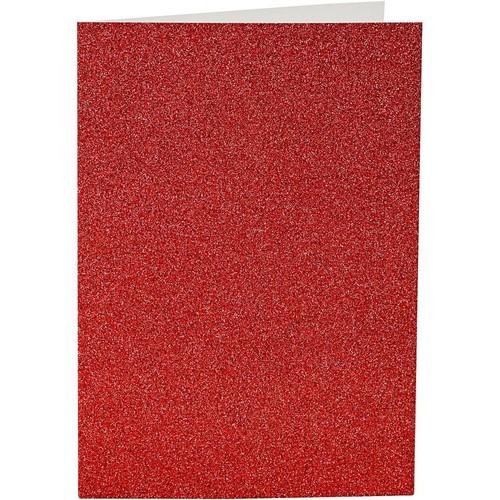 Cards and Envelopes, Size 10.5x15cm, Envelope Size 11.5x16.5cm, Red, Shimmer, 4sets (CC23025)