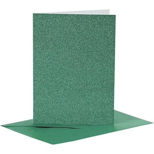 Cards and Envelopes, Size 10.5x15cm, Envelope Size 11.5x16.5cm, Green, Shimmer, 4sets (CC23026)