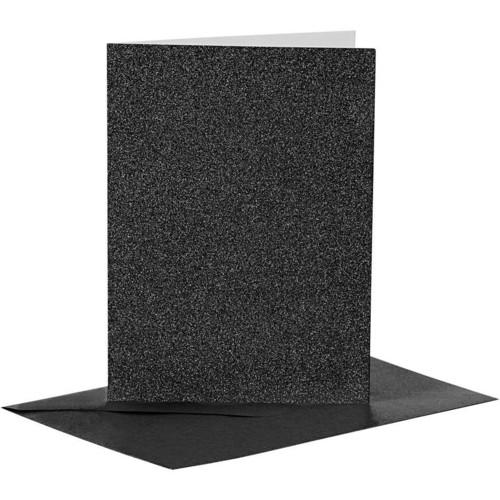 Cards and Envelopes, Size 10.5x15cm, Envelope Size 11.5x16.5cm, Black, Shimmer, 4sets (CC23027)