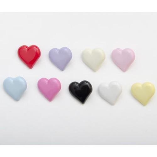 100 x Heart Shank Buttons (CN33) (22 Light Blue)