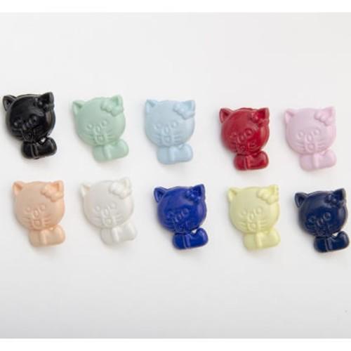 (CN37) Cat Shape Buttons (5 Pale Pink)