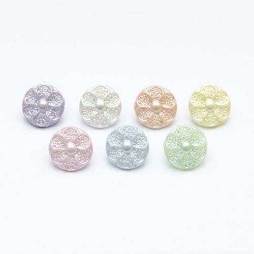 (CN53) Pearl Flower Buttons Size 20 (22 Light Blue)