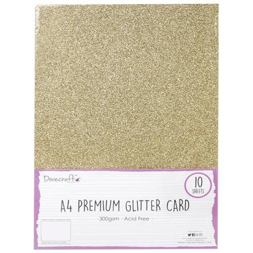10 x A4 Premium Glitter 300gsm Gold (DCGCD008)