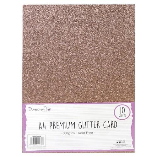 10 x A4 Premium Glitter 300gsm Dark Rose Gold (DCGCD030)