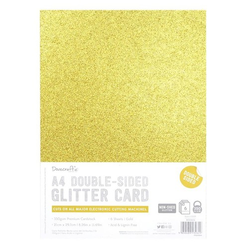 A4 Double Sided Glitter Pack Gold 350gsm 6 Sheets (DCGCD035)