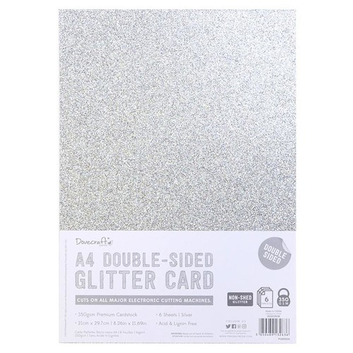 A4 Double Sided Glitter Pack Silver 350gsm 6 Sheets (DCGCD036)