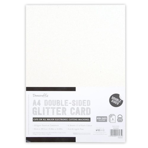 A4 Double Sided Glitter Pack Mono 350gsm 6 Sheets (DCGCD038)