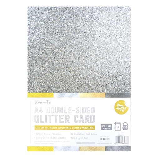 A4 Double Sided Glitter Pack Metals Mix 350gsm 12 Sheets (DCGCD039)
