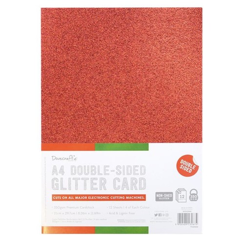 A4 Double Sided Glitter Pack Festive Mix 350gsm 12 Sheets (DCGCD040)