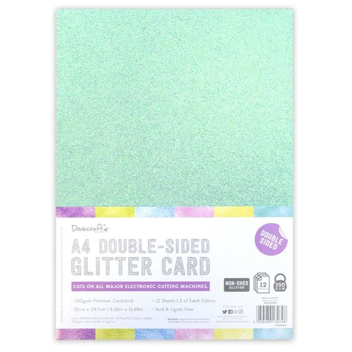 A4 Double Sided Glitter Pack Rainbow Pastels 350gsm 12 Sheets (DCGCD042)