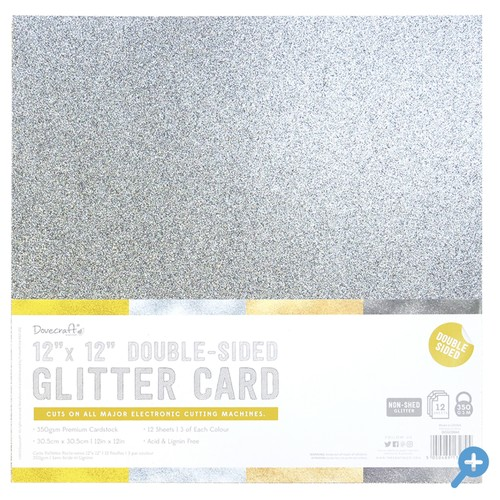 12x12 Double Sided Glitter Pack Metallic Mix 350gsm 12 Sheets (DCGCD043)