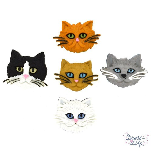 (DIU05800) - Dress It Up! Buttons - Fuzzy Felines