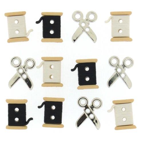 (DIU06942) - Dress It Up! Buttons - Sew Cute Spools & Scissors