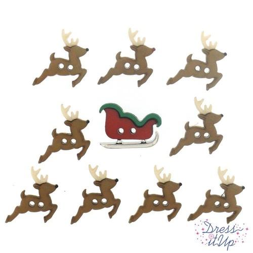 (DIU07590) - Dress It Up! Buttons - Sew Cute Sleigh Reindeer