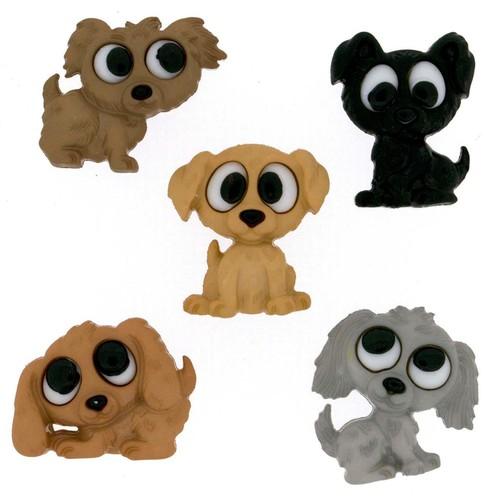 (DIU07687) - Dress It Up! Buttons - Playful Puppies