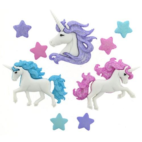 (DIU09357) - Dress It Up! Buttons - Magical Unicorns