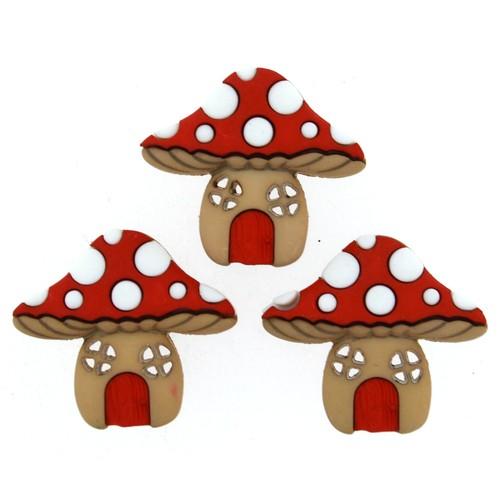 (DIU09387) - Dress It Up! Buttons - Mushroom Houses