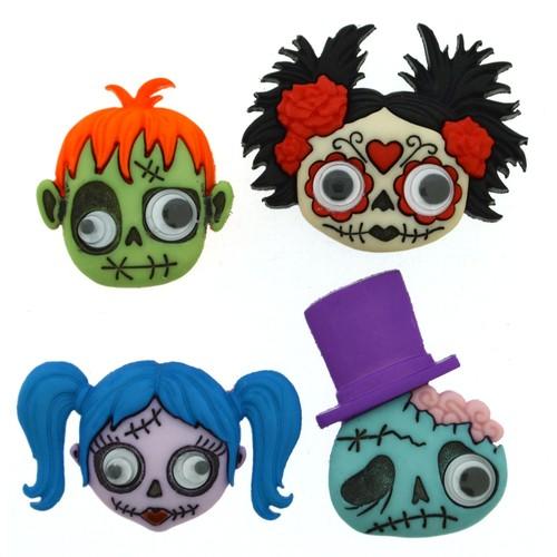 (DIU09488) - Dress It Up! Buttons - Zany Zombies
