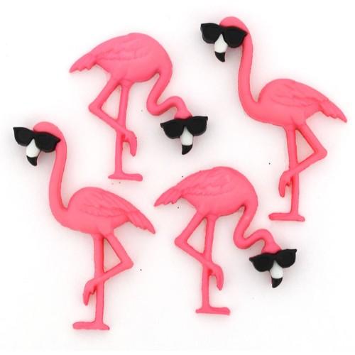 (DIU10407) - Dress It Up! Buttons - Think Pink Flamingos