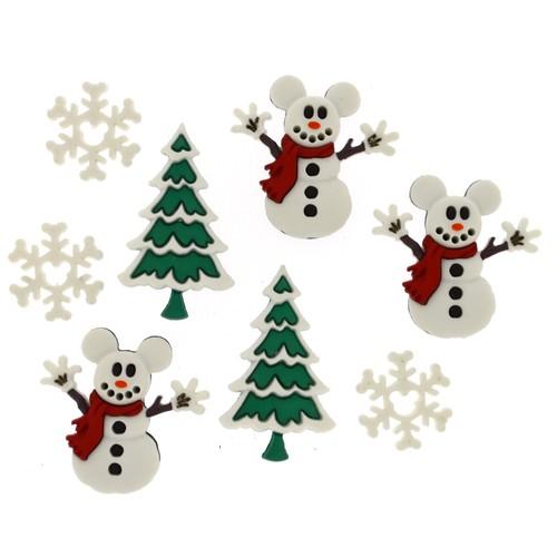 (DIUD08234) - Dress It Up! Disney Buttons - Mickey Snowmen
