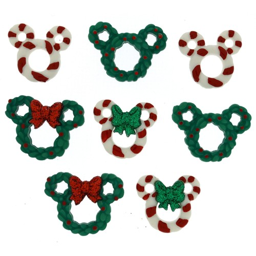 (DIUD08237) - Dress It Up! Disney Buttons - Wreaths & Canes