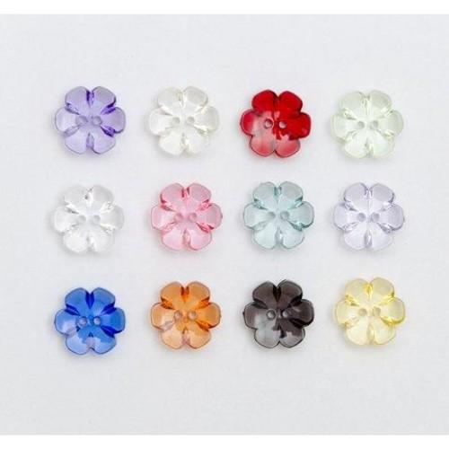 100 x Clear Flower Buttons 13mm x (G6013)(54 Green)
