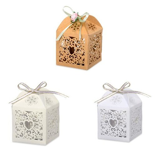 75mm Laser Cut Favour Boxes 50 x 50 x (HY012) x 10 pieces (Brown Kraft)