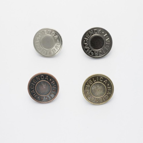 100 x 19mm Hammer On Jeans Buttons (JB20)(Silver)