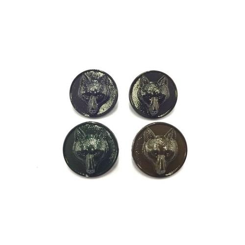 100 x 15mm Fox Button App x (K3324)(Black)