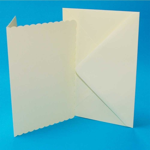 5 x Cards & Envelopes C5 Ivory Scalloped 2(LINE1008)