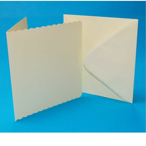 5 x Cards & Envelopes 8 x 8 Ivory Scalloped 2(LINE1013)