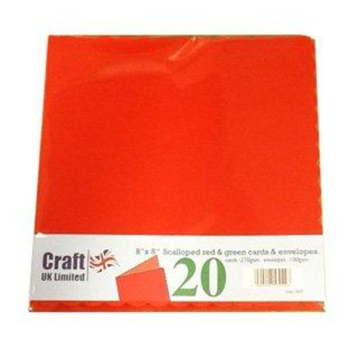 Cards & Envelopes 8 x 8 Xmas Scalloped 20 Pack