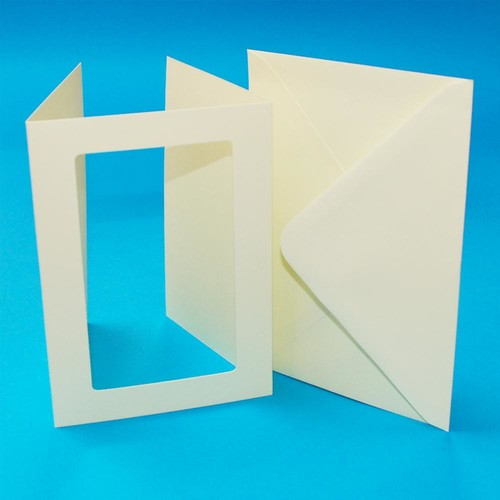 10 x A6 3 Fold Rectangular Aperture Cards & Envelopes Ivory (LINE10657)