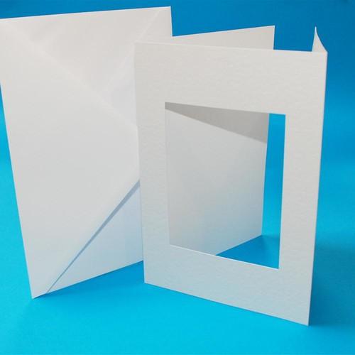10 x A5 3 Fold Rectangular Aperture Cards & Envelopes White (LINE10765)