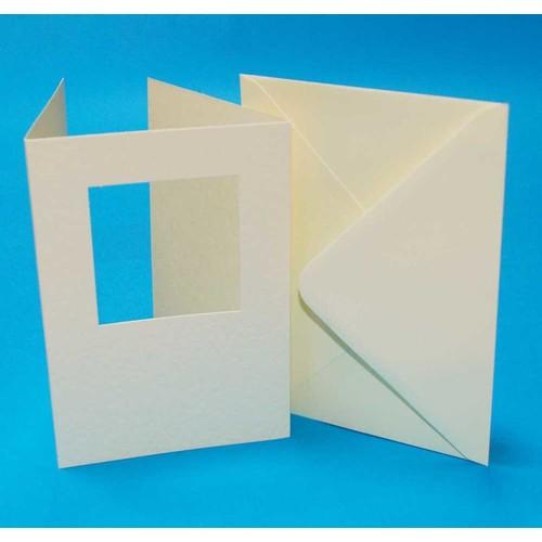 10 x A6 3 Fold Square Aperture Cards & Envelopes Ivory Hammered (LINE10784)