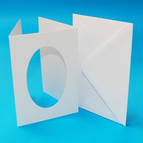 10 x A6 3 Fold Oval Aperture Cards & Envelopes White Hammered (LINE10817)